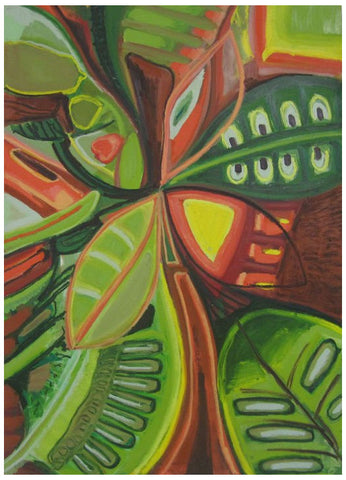 American School (20th century), Untitled (Green Leaves), oil on canvas