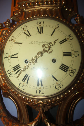 Swedish Carved Giltwood Cartel Clock, retailed by Rob. Engström, Stockholm, ca. 1895-1900