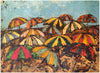 Frank Barry (American, 1880-1939), Beach Umbrellas, oil on board, signed