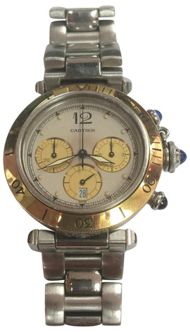 Mens Pasha de Cartier Chronograph 1032, stainless steel with yellow gold bezel, Cartier, Swiss, ca. 1990s