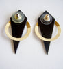 Pair of 14K Gold and Onyx Post Modern Geometric Earrings, ca. 1980s