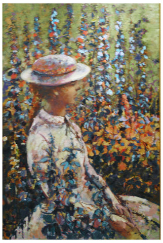 "Donald Roy Purdy (American, b. 1924), ""Woman in the Garden"", 1989, oil on masonite, signed"