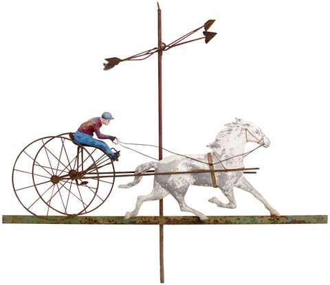 American Horse and Sulky Weathervane, copper and cast iron, late 19th/early 20th century