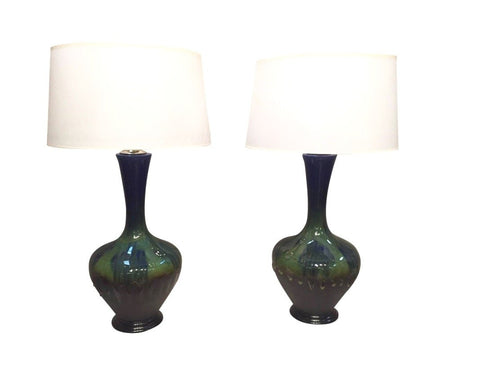 Pair of Double Glazed Pottery Lamps, ca. 1960-70s