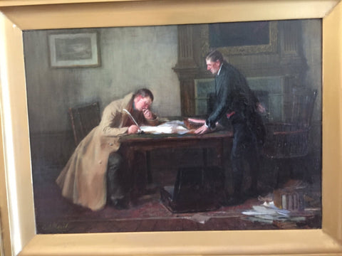 George Ogilvy Reid (British, 1851-1928), The Indenture, oil on canvas, signed