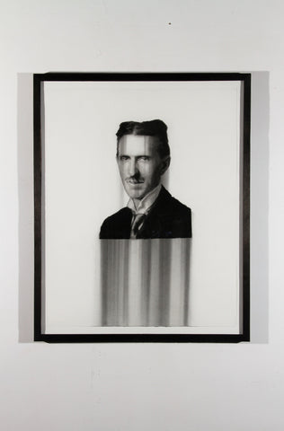 "Paul Jacobsen (American, b. 1976), ""Nicola Tesla"", 2015, charcoal on paper"