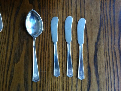 American Silver Part Flatware Service, International Silver Co., in the Monticello pattern, early 20th century, monogrammed, pattern introduced in 1924