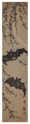 Utagawa Toyohiro (Japanese, 1773-1828), Bats and New Moon, ca. 1810, woodblock print, signed