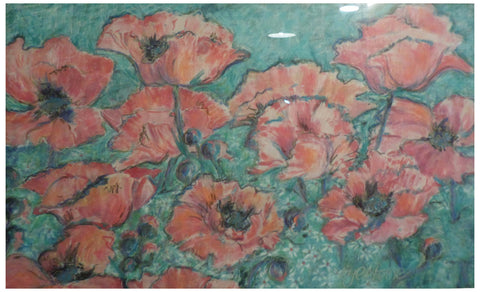 Sara Eyestone (American, b. 1943), Untitled (Flowers), batik, signed