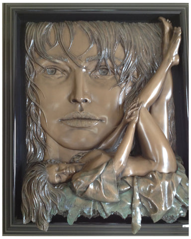 "Bill Mack (American, b. 1948), ""Rapture"", bonded bronze figural relief, signed, ed. 75"
