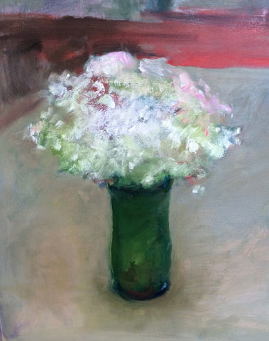 "Marc Whitney (American, b. 1955), ""White Floral Green Vase"", oil on linen, signed"