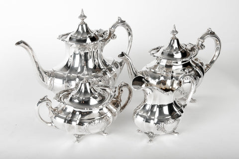 American Silver Tea and Coffee Set, Reed & Barton, Taunton, MA., in the Hampton Court pattern, 20th century