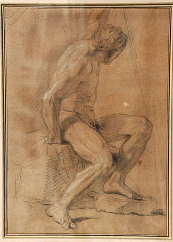 Attributed to François Lemoyne (French, 1688-1737), Academic study of a seated male nude, chalk on paper