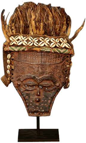 Lele Mask, wood, fiber, glass beads, cowrie shells, palm leaves and stand, Democratic Republic Congo