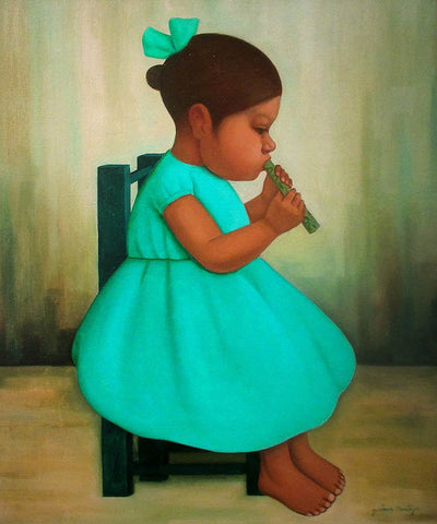Gustavo Montoya (Mexican, 1905-2003), Girl with Flute, oil on canvas, signed