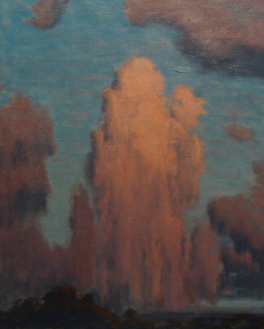 Brian Sindler (American, b. 1957), Rising Rose and Lavender-Colored Clouds, oil on canvas, signed with initials