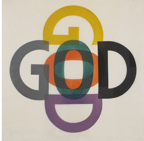 Jonathan Borofsky (American, b. 1942), Gods, woodcut in colors, 1994, signed, ed. 5