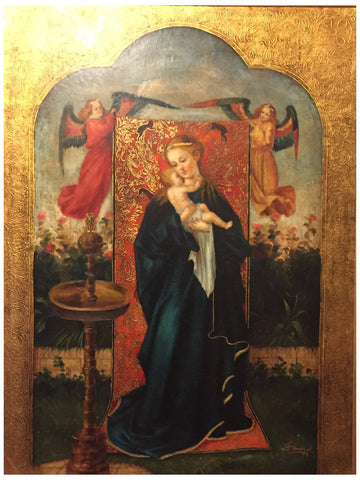 Diana Mendoza (Peruvian, 20th century), Madonna at the Fountain, oil on canvas, signed