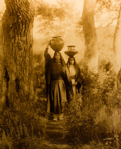 "Edward S. Curtis (American, 1868-1952), ""Taos Water Girls"", taken 1905, printed 2008, contemporary goldtone/orotone"