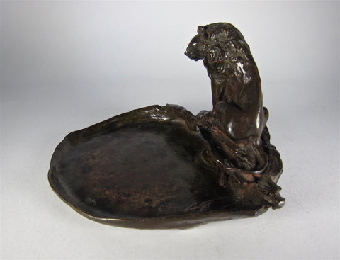 Bronze Lion Ashtray, Marie Zimmermann (American, 1879-1972), cast by Roman Bronze Works, 1930
