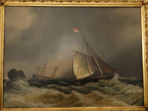 Attributed to Francis Hustwick (British, 1797-1865), Rough Weather, oil on canvas, signed