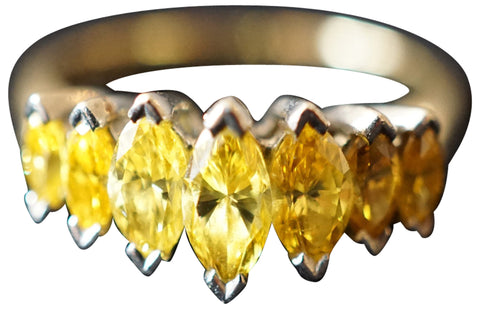 Platinum, Gold, and Fancy Yellow Marquise-Cut Diamond Ring, 20th century