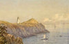 "Samuel Peter Rolt Triscott (British, 1846-1925), ""Sparrowhead Light House, Grand Manan"", 1890, watercolor and gouache, signed"