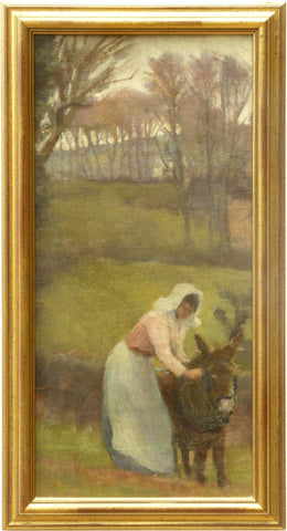 Attributed to Elizabeth Adela Forbes (Canadian, 1859-1912), Woman Leading a Donkey, oil on canvas