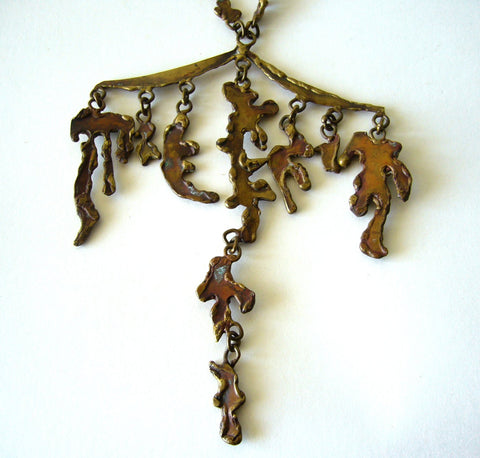 Bronze and Glass Necklace, designed by Pal Kepenyes (Mexican), ca. 1960