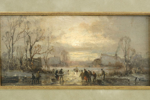 "Adolf Stademann (German, 1824-1895), ""Figures Skating at Dusk"", ca. 19th century, oil on panel, signed"