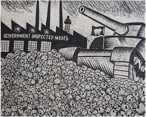"Thomas Shaw (American, 1947-2010), ""The Other White Meat"", 1998, woodblock on paper, signed"