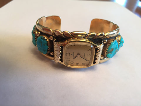 Zuni 14K Yellow Gold and Turquoise Ladies Cuff Wristwatch, Robert and Bernice Leekya, ca. 1980