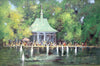 "Robert Waltsak (American, b. 1944), ""Boat Basin in Central Park\"", oil on canvas, signed"