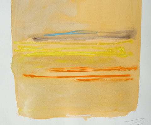 Larry Zox (American, 1936-2006), Untitled (Orange), mixed media on paper, signed