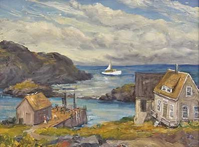 "Alfred Russel Fuller (American, 1899-1980), ""Monhegan"", oil on canvas"