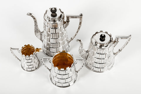 English Silver-Plated Four Piece Tea and Coffee Set, with Registry Mark for 1877