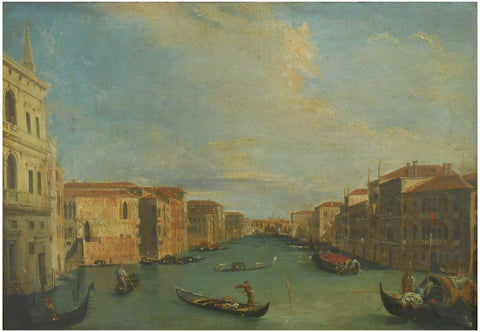 Follower of Antonio Canale, called Canaletto (Italian School), Venice, A view of the Grand Canal looking north-east from the Palazzo Balibi towards the Rialto Bridge, oil on canvas, unsigned