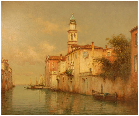 Antoine Bouvard (French, 1870-1955), A quiet canal in Venice, oil on canvas, signed