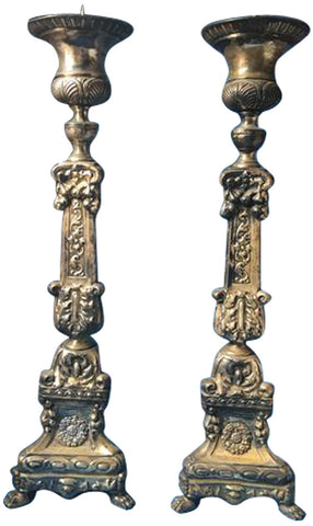 Baroque Style Silvered Metal Pricket Sticks