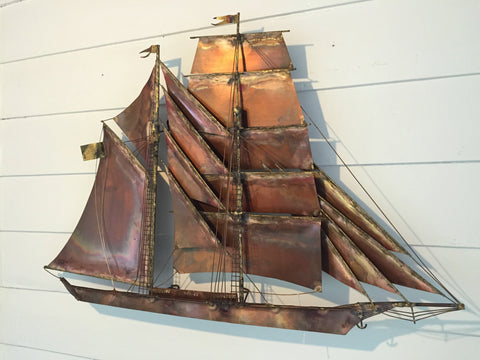 C. Jeré, Clipper Ship, wall-mounted sculpture, patinated mixed metals, designed by Curtis Jeré, ca. 1970