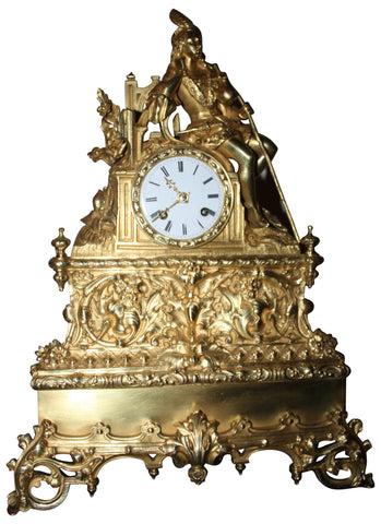French Gilt Brass Eight-Day Time and Strike Figural Mantel Clock, ca. 1870-1880