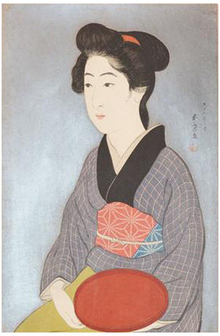 Goyo Hashiguchi (Japanese, 1880-1921), Woman with a Tray, 1920, woodblock print, signed