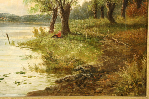English School (19th century), Landscape of Figures at Lake, pair of oil on canvas paintings, ca. late 19th century