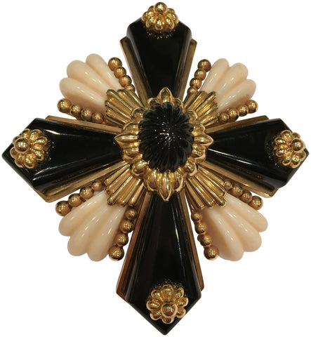 18K Yellow Gold, Onyx and Coral Pendant or Brooch, made by Wander, France, ca. 1970