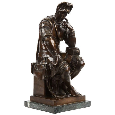 After Michelangelo, Patinated Bronze Figure of Lorenzo de' Medici, late 19th century