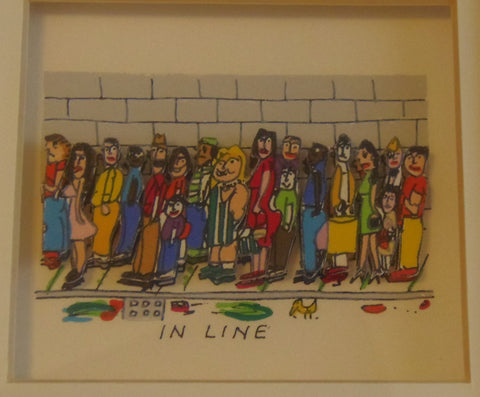 "James Rizzi (American, 1950-2011), ""On Line, In Line, In Russia"", 1990, screenprint in colors, signed and dated, ed. 350"