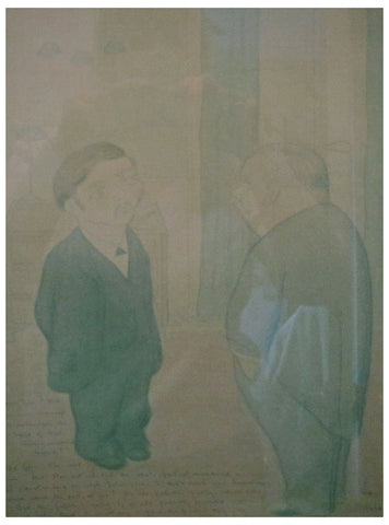 Max Beerbohm (English, 1872-1956), The Old Self and the Young Self, 1924, watercolor and pencil on brown paper, signed