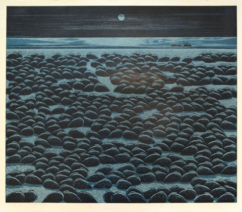 Yu Chengyou (Japanese, b. 1953), Moonlight at Wetland, 1999, woodblock print, signed