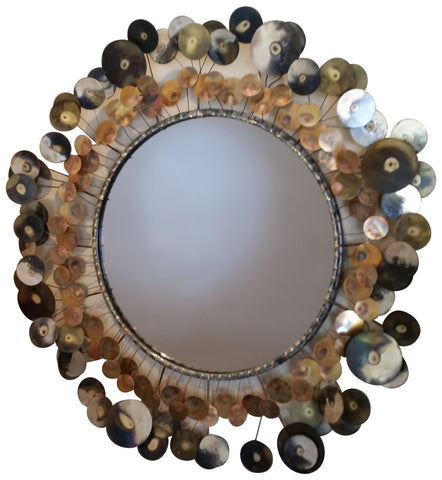 "C. Jeré, ""Raindrops"", wall-hanging mirror, mixed metal and mirrored glass, designed by Curtis Jeré, ca. 1968, for Artisan House"