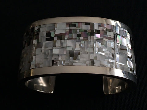 Zuni Inlaid Shell and Silver Bracelet, Colin Coonsis, contemporary